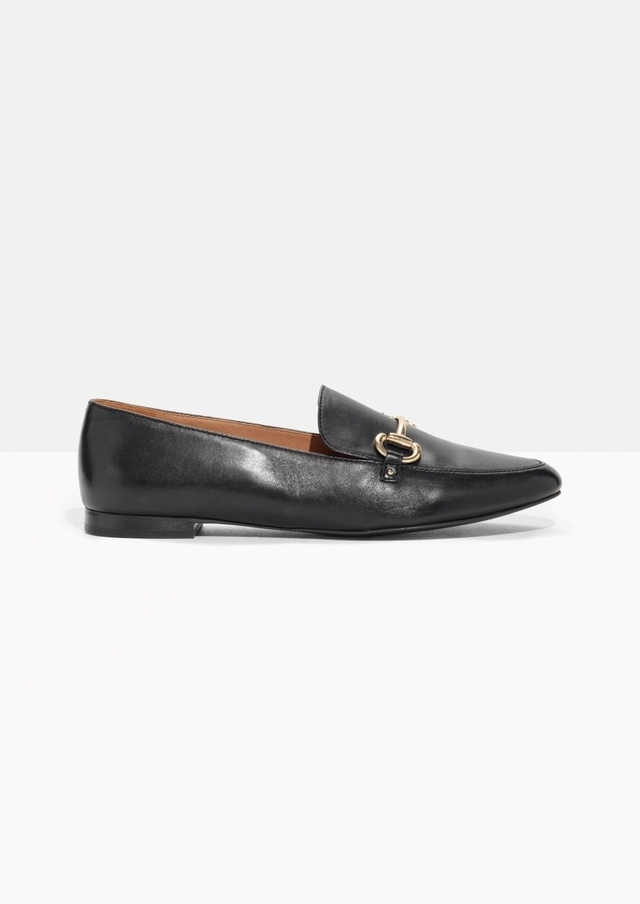 black loafers with buckle