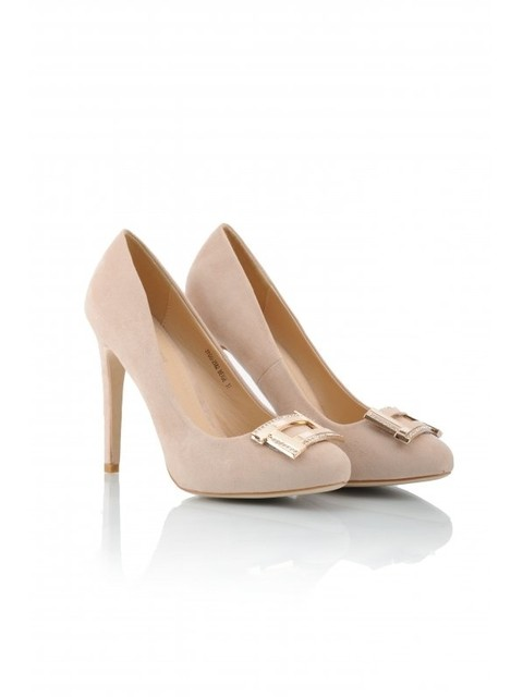 f8879f2aebae Pale Pink Blush Court Pumps Gold Jewelled Diamante Buckle Faux Suede ...