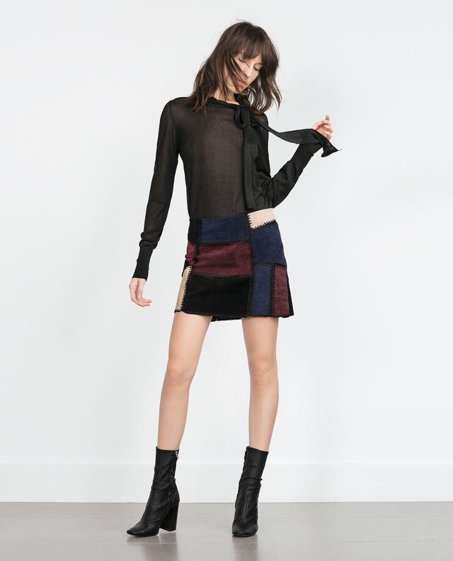 leather patchwork skirt endource