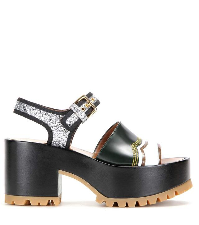be057860aa37 Leather and Glitter Platform Sandals