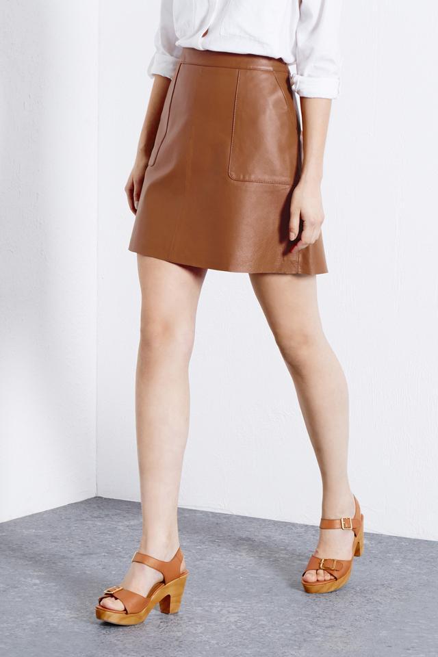 Leather Pocket A-line Skirt   Endource