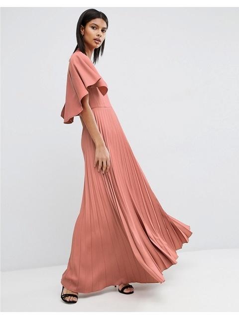 769d2da2992 Pleated Ruffle Cape Tiered Maxi Dress