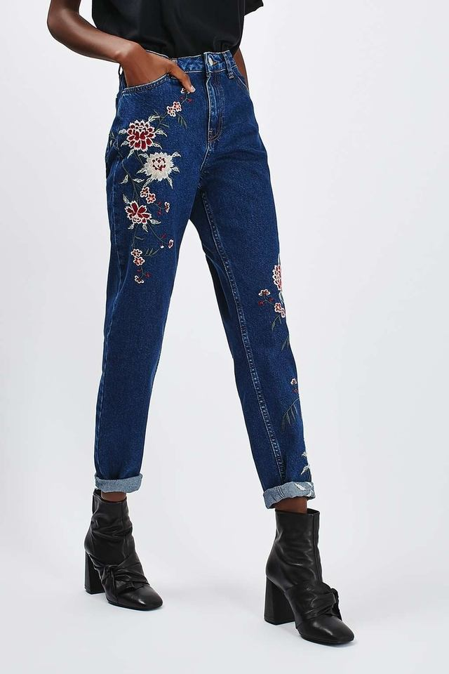 Moto embroidered mom jeans endource