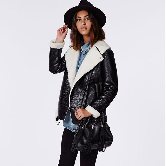 2b4895cb6 Coco Faux Leather Shearling Jacket Black