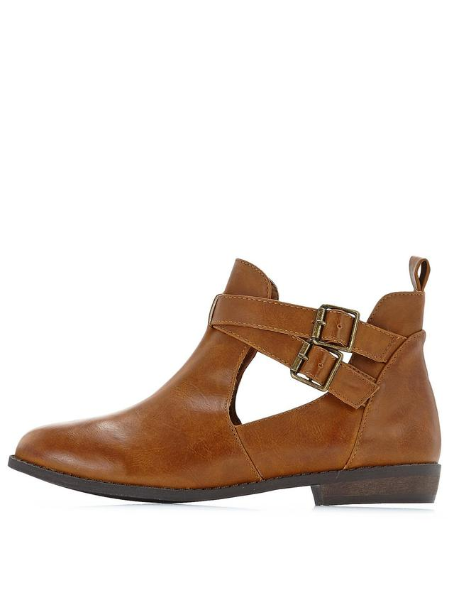 Shoe Box Tori Strappy Flat Cut Out Ankle Boots | Endource