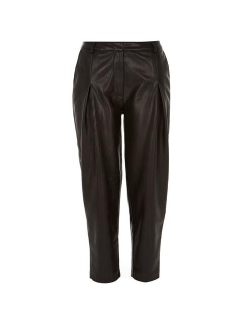 f8b10603f8a7c1 Black Leather-look Peg Leg Trousers | Endource
