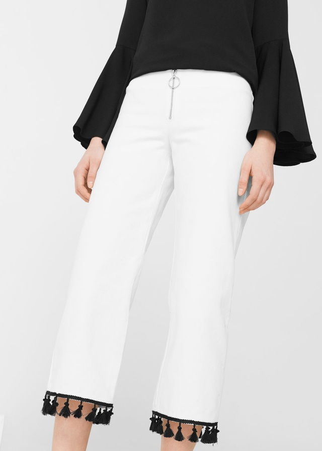 Asos collection Trousers with Pom Pom Detail in Black | Lyst