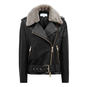 Dree Shearling and Leather Jacket by Reiss