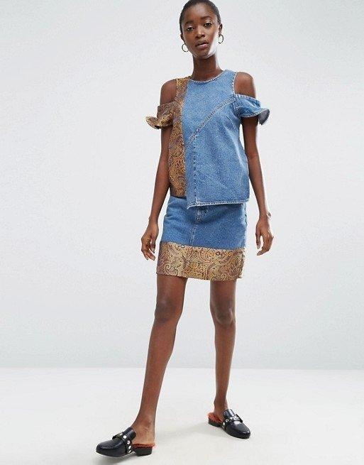 Jacquard Hem Denim Mini Skirt | Endource