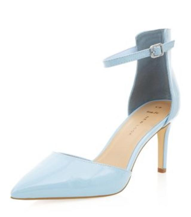 Wide Fit Pale Blue Pointed Ankle Strap Heels | Endource