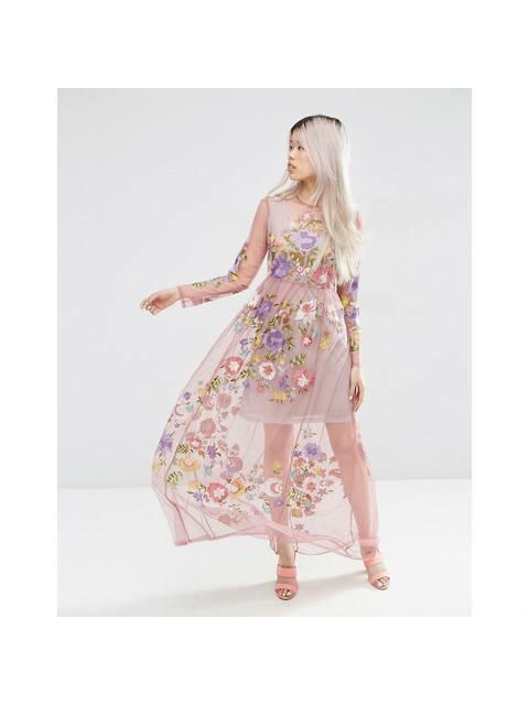 e63708331d Pretty Embroidered Mesh Maxi Dress