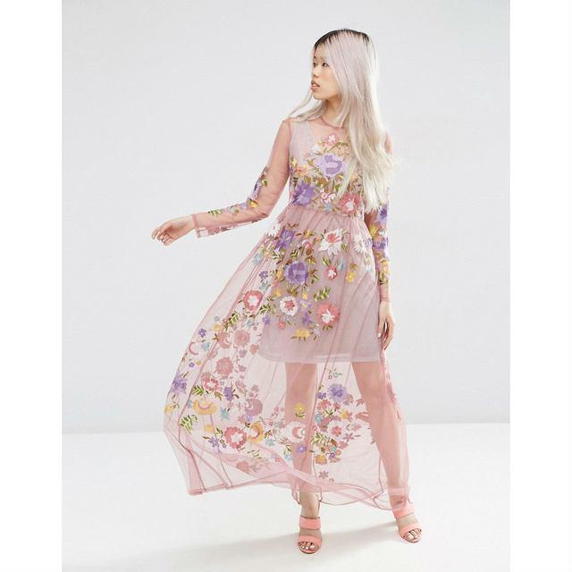 e167d4b3734 Pretty Embroidered Mesh Maxi Dress