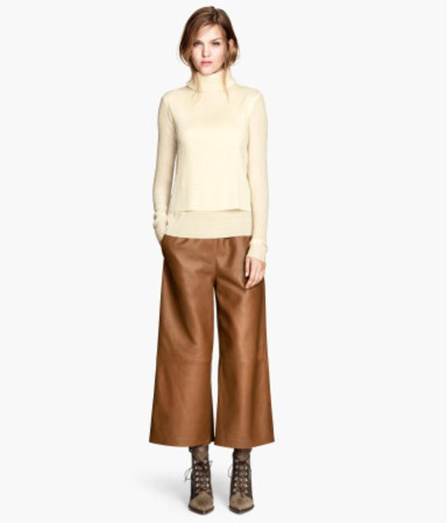 Wide Leather Trousers by H&m
