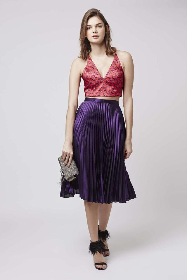 topshop new purple pleat ankle grazer midi skirt size uk10