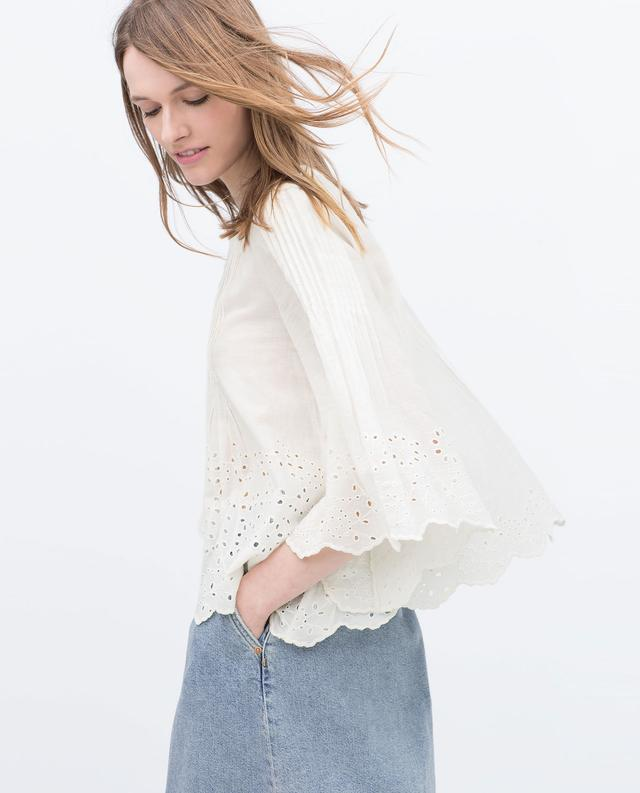 Zara Combined Embroidered Blouse 113