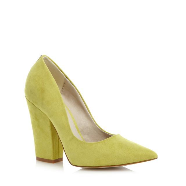 Lime suedette block heel shoes   Endource