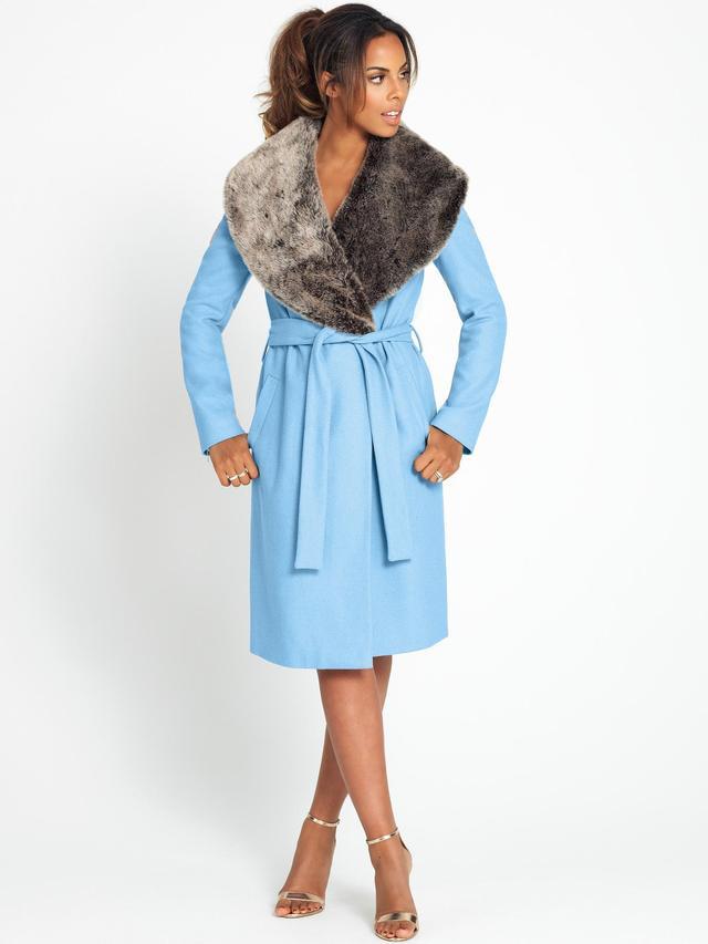 Rochelle Humes Faux Fur Collar Wrap Coat Endource
