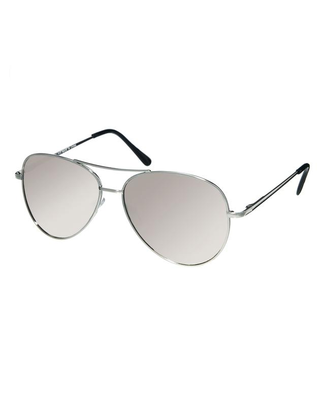 95c47addea31 ASOS Silver Aviator Sunglasses With Mirrored Lens | Endource
