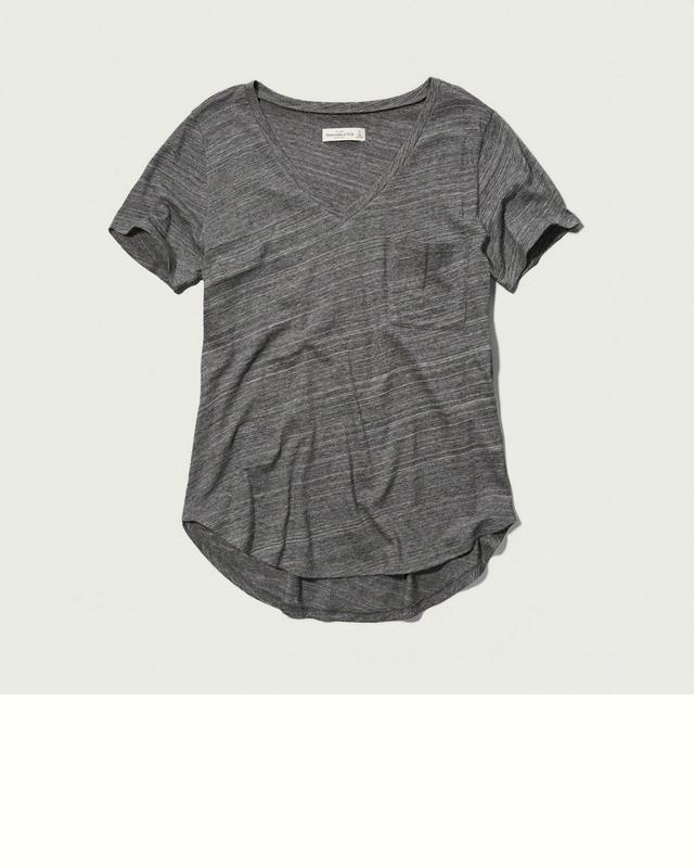 Grey v neck t shirt endource for Abercrombie and fitch t shirts online shopping