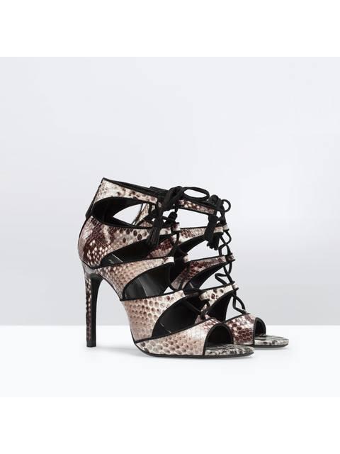 466a4f9b409 High heeled snake print leather sandal