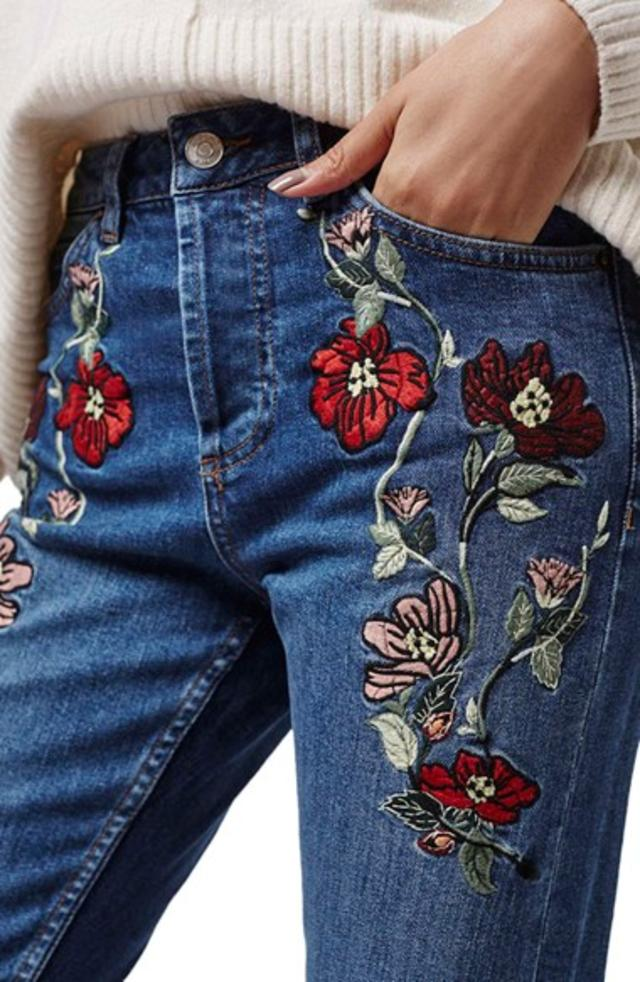 Few items steal the show like embroidered denim. I'm loving this trend for  three reasons: