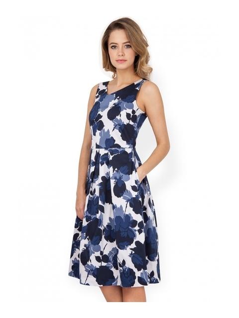bf57433678c Rose Print V-Neck Dress