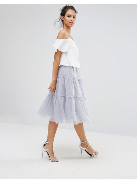 081f12716a7af5 Tiered Tulle Midi Skirt | Endource
