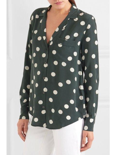 51eb1f596c1dc Keira Polka-dot Washed-silk Shirt