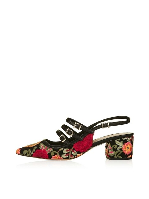 9a84734162f9 Embroidered Block Heels