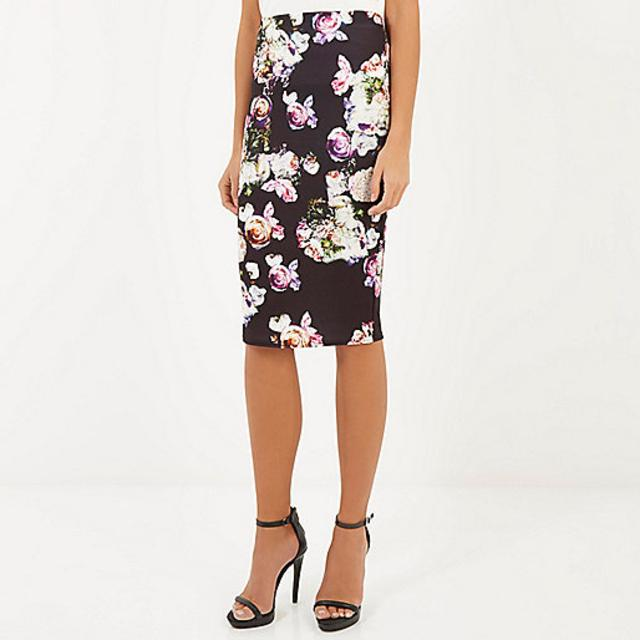 BLACK JERSEY FLORAL PRINT PENCIL SKIRT | Endource