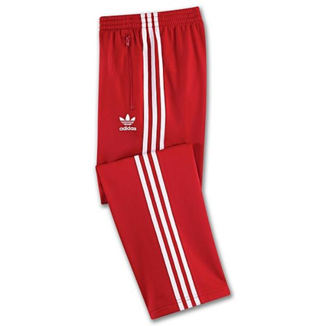 new concept c0fd9 de003 red adidas pants with white stripes
