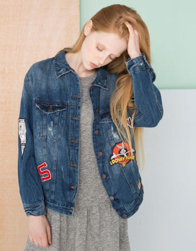 Bershka jeans jacke patches