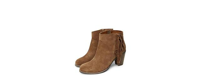 Suede Fringed Side Ankle Boots | Endource
