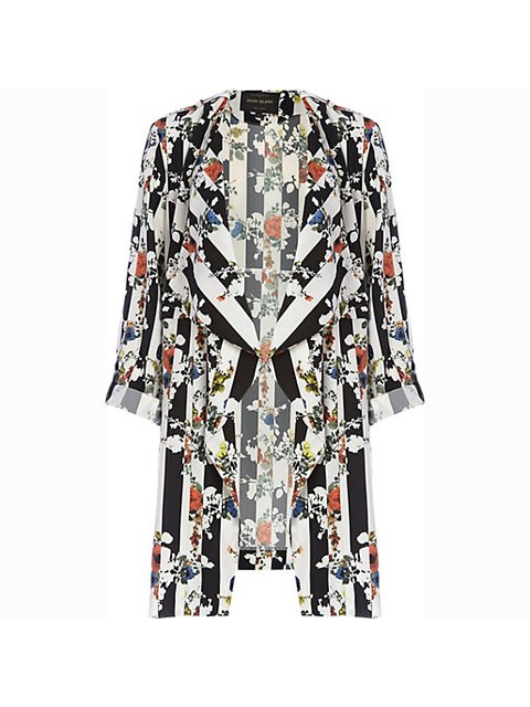 9ade9a9380e BLACK STRIPED FLORAL PRINT WATERFALL JACKET | Endource