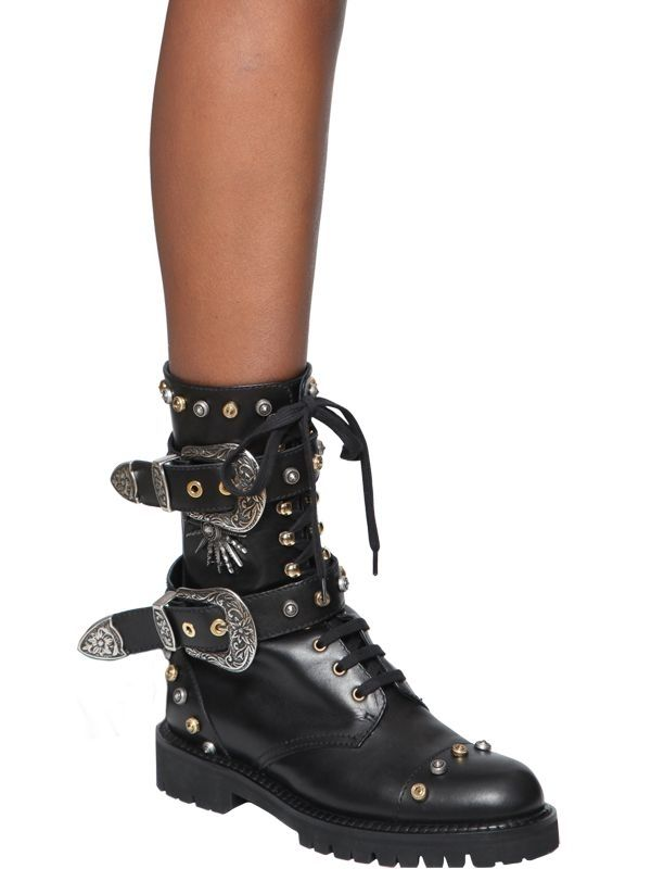 FAUSTO PUGLISI Studded Leather Booties in . 34c4E