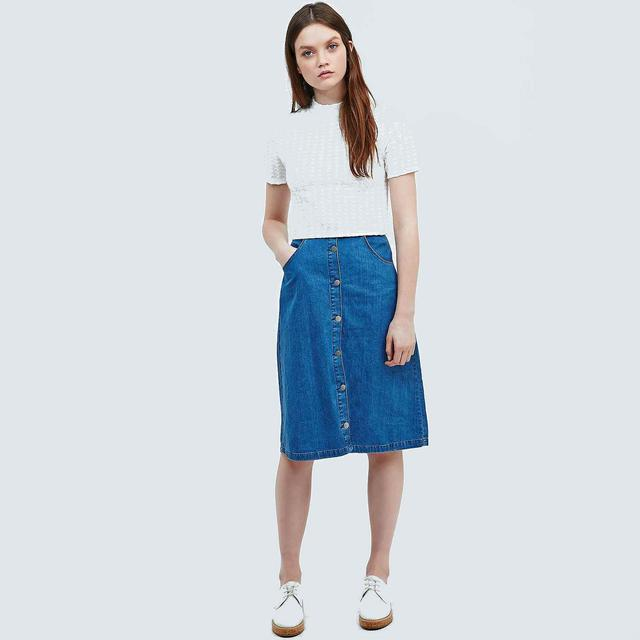 Denim Skirt Midi - Skirts