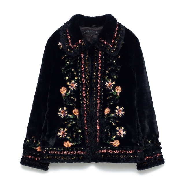 Embroidered faux fur coat endource