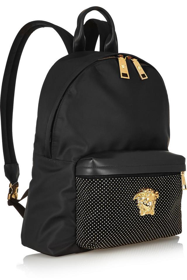 Studded Leather Trimmed Satin Shell Backpack Endource