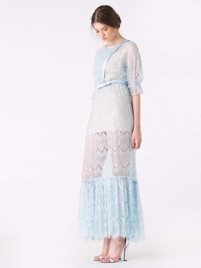 Silver lace wedding dress ukulele
