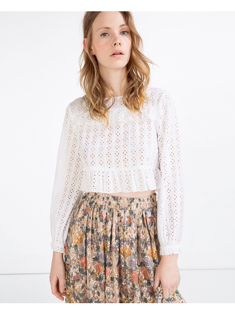 731c8a09f5be9 Frilled Cropped Blouse