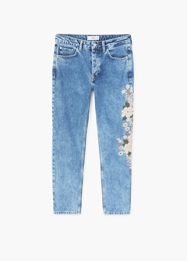 Embroidered straight spring jeans endource