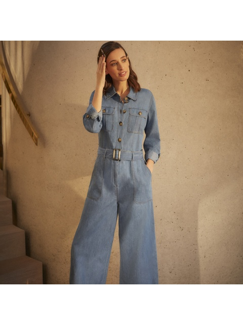 0ce0b4c8b43a Wide Leg Denim Boiler Jumpsuit