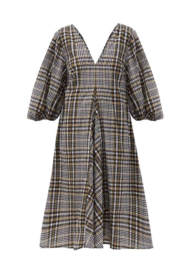 Checked Cotton Blend Seersucker Midi Dress Endource