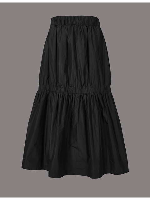 10a32e66e1 Taffeta Drop Waist Full Midi Skirt | Endource