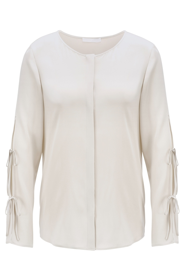 Frill-detail top in silk-based crepe de Chine BOSS Drop Shipping Cheap Many Kinds Of oYWnRs