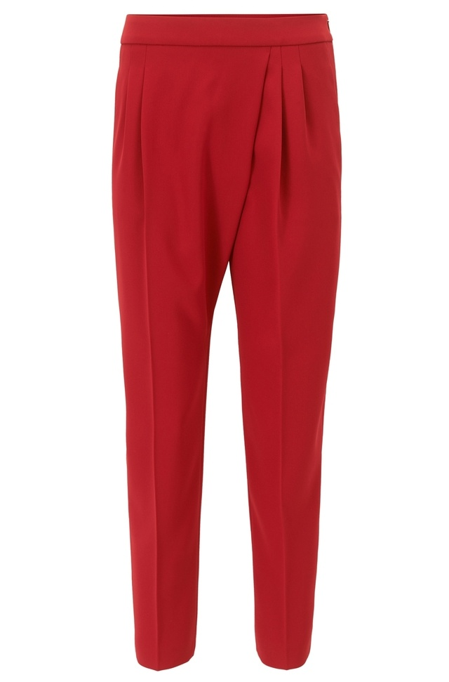 Relaxed-fit cropped trousers with asymmetric pleat detail BOSS ZouiyQhcP