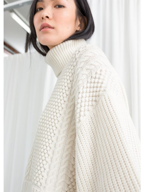 a7d98f2343b6 Oversized Cable Knit Turtleneck