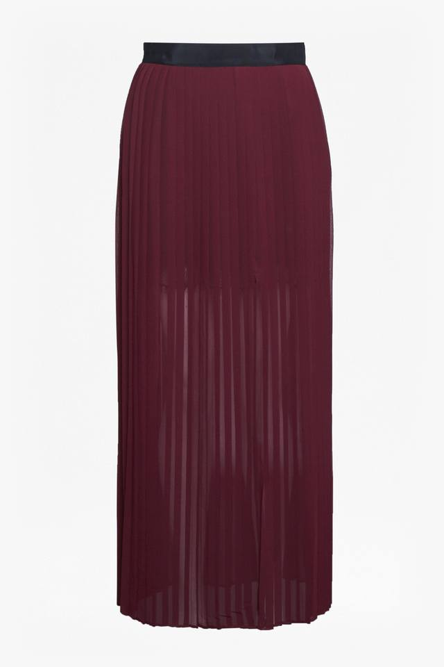sheer pleated maxi skirt endource