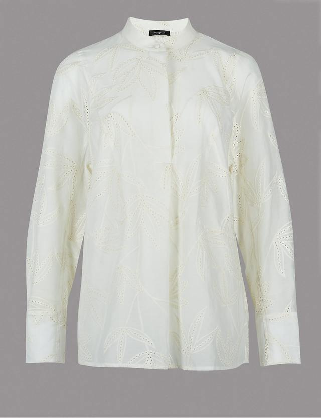 Cotton rich oversized embroidered shirt endource