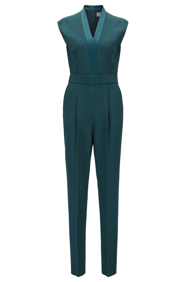 Buy Cheap Reliable Lowest Price Cheap Online V-neck jumpsuit with satin trims BOSS Cost Sale Online Cheap Sale With Paypal Cheap Price Original X4TeA4TFq2